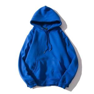 Hombres Estilo básico gota del hombro suelta primavera sudaderas con capucha de color sólido con capucha bolsillo canguro con capucha Casual Male