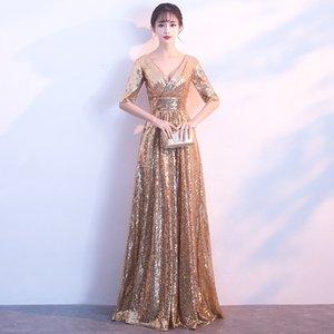 Tradiciones vestido de novia de la mujer elegante Qipao largo atractivo de China vestidos de noche de oro cheongsam del vestido de novia de China Traje de Robe