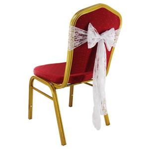 1pcs 18 * 275cm dentelle blanche Chaise Jupettes mariage arc couverture de chaise de Noël Decors Banquet Lieu Décor Decors de mariage romantique