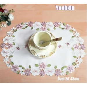 Modern satin embroidery placemat cup mug tea coffee coaster kitchen dinner table place mat lace doily Christmas drink party pad C0926