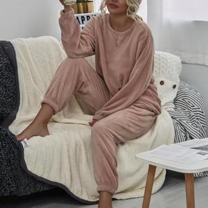 2020 Mujeres de invierno Conjunto de pijama de franela de manga larga caliente tapa floja elástico de la cintura caliente grueso ropa de dormir ropa Inicio Jodimitty