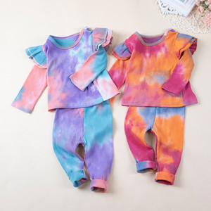 kids clothes girls Tie dye outfits children rainbow Flying sleeve Tops+pants 2pcs sets Spring Autumn fashion baby Clothing Sets Z1698
