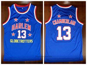 Harlem Globetrotters 13 Wilt Chamberlain Koleji Basketbol Jersey Vintage Mavi Tüm Dikişli Boyutu S-3XL Bizden