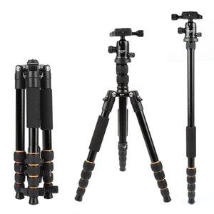ZOMEI Leggero Q666 Portable Travel Professional Camera Tripod alluminio tripode testa treppiedi monopiede per DSLR digitale LJ200904 fotocamera