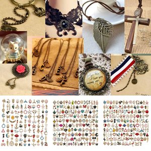 DIY colgante collar accesorios hechos a mano accesorios de la joyería pendientes de la pulsera pendientes del collar colgante de la aleación MixedStyles Enviar XD23883