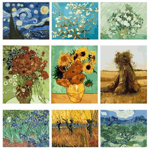 Yijie bricolaje Pintar por números de Vincent Van Gogh óleo de la lona pintura por los tintes por número de Kit de bellas artes Home Living decoración de la habitación