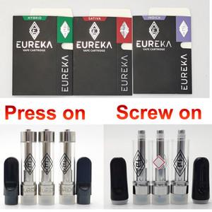 El más nuevo de cartuchos de Vape Eureka 0,8 ml 1,0 ml Carros Press en tornillo de rosca del atomizador 510 Niño caja resistente Embalaje vaporizador Vacío de cerámica