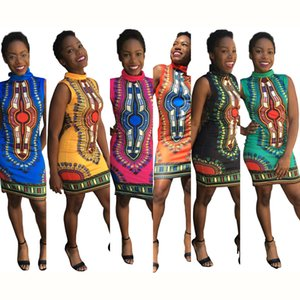 2019 African Clothing Dress Rushed Sexy Tight Folk Style Classic High Elastic Stamp Slim Package Hip Women Dashiki Clothes CX200813