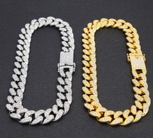 Mens Hip Hop Gold Color Iced Out Crystal Miami Cuban Chain 18inch to 24inch Necklace HOT SELLING THE HIP HOP KING00