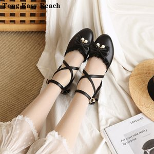 2020 Round head bow lace hollow sandals thick heel word buckle student sweet baotou women's shoes shallow mouth single shoes 39