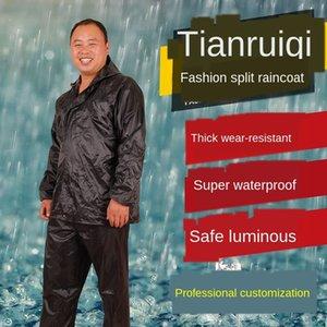 Wandern Regenmantel und regen Hose für Erwachsene Split-Single-Layer-Anzug Baustelle Schutz Arbeitsschutz reflektierende Regenmantel J8ksN