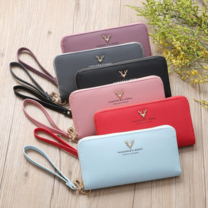 Women Fashion Lichee Pattern Solid Single Pull Deer Head Wallte Coin Bag Red Credit Card Wallet Business Card Holder Card 15
