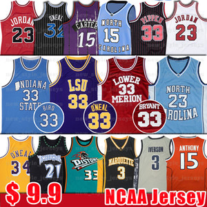 NCAA Norte Tar 23 Michael O'Neal, Shaquille 33 LSU Jersey Garnett Carter 15 Vince Kevin Bryant bul Scottie Pippen Rodman jerseys del baloncesto
