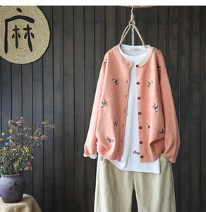 Literary single-breasted long-sleeved knitted cardigan sweater women autumn hand-embroidered knitted cardigan jacket