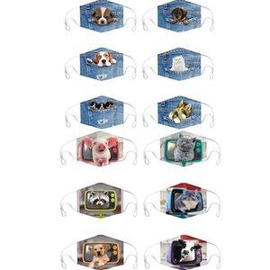 12 animal de style de dessin animé 3D chien de cowboy imprimé masque chat unisexe vent masque facial anti-poussière cyclisme bouche masque DHC1708