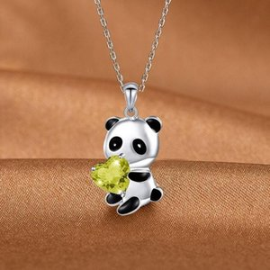 New Fashion Cute Panda Pendant Necklace For Women Sweet Heart Shape Crystal Dangle Chain Necklace Charm Jewelry Girls Gifts