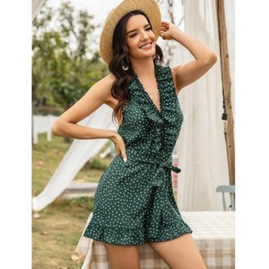 Women's 2020 Summer New European and American Fashion Skirt Loose V-neck Stitching Backless Dress Willon Green Dress Eam