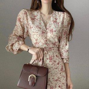 WHCW CGDSR drucken 2020 Parteikleider Herbst Winter a-Linie der koreanischen Art elegantes Kleid Frauen neue Frau lange Hülse Jahrgang vestidos