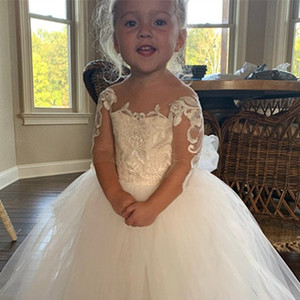Ruffles Flower Girl Dresses with Long Train Tulle First Communion Toddler Birthday Princess Special Occasion Gowns
