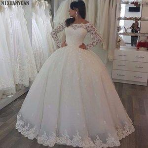 Elegant Long Sleeve Lace Ball Gown Tulle Floor Length Bride Boat Neck Ball Gown Wedding Dresses Vestidos De Noiva Custom Made
