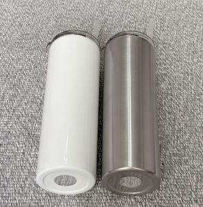 20 oz Sublimation Skinny Tumbler Blanc Argent en acier inoxydable Gobelets Doubler mur bière Voyage isolé mugs à café voiture peut DIY C01