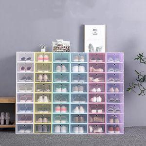 Sapatos de plástico caixas de armazenamento dos doces Cor empilhável Shoes Organizer Box Clamshell empilhável Shoe Caso caixas de armazenamento Household gaveta LSK1384