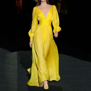 OMILKA Elegant Dress 2020 Autumn Women Long Sleeve Deep V Neck Yellow Red Party Runway Long Maxi Vestidos De Festa
