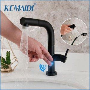 KEMAIDI Badarmaturen Smart Sensor Pull-Out-heißes und kaltes Wasser wechseln Mischer-Hahn-Smart Touch-Spray-Hahn Convenient Schwarz-Hahn