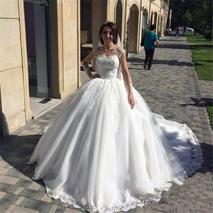 Modest Plus Size Ballkleid Brautkleid Spitze-lange Hülsen Sequined Victorian Arabisch African Robe De Soriee Brautkleid