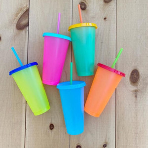 700mL Plastic Temperature Change Color Cups Colorful Cold Water Color Reusable Changing Juice Coffee Cup Mug Water Bottles With Straws Set