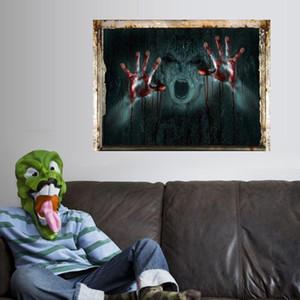 تبريد كبير الجدار ملصق الديكور هالوين 3D عرض مخيف الدامي كسر شبح ملصق الصفحة الرئيسية هالوين الحزب DIY الديكور الجديد