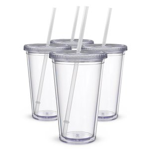Classic Insulated Tumblers 16 oz. Double Wall Acrylic 4 pack   lot Straw Type Water Bottles Clear Drinking