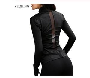 Новая сетка для сращивания Running куртка женщин Спорт куртка женщин с длинным рукавом Йога куртка Дышащие Йога Top Женщины Спорт Shirt