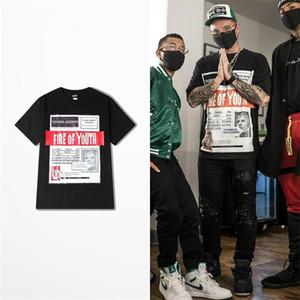 Tide Brand Papers Print Short Sleeve T Shirt Men Skateboard Hip Hop High Street Top Tee Streetwear Lovers Couple T Shirts 0924