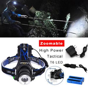 3 Modi 380000LM aggiornato tattico T6 Headight CREE XM-L T6 LED ricaricabile ZOOMABLE + 2x 18650 Battery +