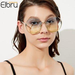 Fêmea Elbru Sol Luxo Frameless Vintage Poligonal Lady Sunglasses Óculos Oversizados Mulheres BLSQR