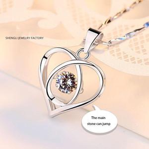 S999 plata esterlina collar de la muchacha de clavícula joyería de la cadena coreana versión simple inteligente Salto Corazón colgante de regalos de cumpleaños de Navidad