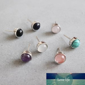 Authentic 925 sterling silver Crystal Stud Earrings For Women Black White Agate Turquoise Stud Earring Brinco Wedding Xmas Gifts