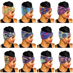 Diadema elástica de la impresión africana para las mujeres Pañal de la cabeza Estiramiento Hairband Headwear Banda de pelo Cabeza Bufanda de las señoras Vendaje de la cabeza Accesorios para el cabello