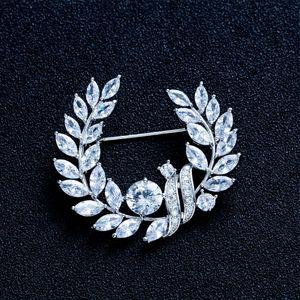 Эллегантностью Olive Branch броши для женщин Аксессуары для украшений циркон Брошь Pins