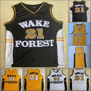 NCAA Tim Duncan 21 WakeForest Paul 3 Dämon Diakone College-Herren-Basketball-Trikots genäht Weiß, Schwarz, Gelb S-2XL