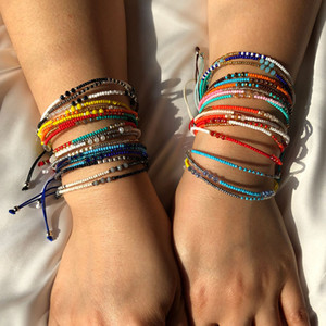 12 Colors Bohemian Luxury Designer Jewelry Women Girls Multicolor Seed Beads Bracelet National Style Adjustable DIY Jewelry