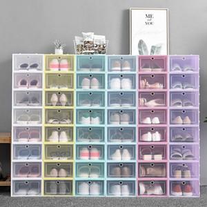 Thicken Clear Plastic Shoe Box Dustproof Shoe Storage Box Flip Transparent Shoe Boxes Candy Color Stackable Shoes Organizer Box DHL Free