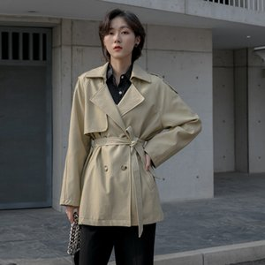 in the spring of 2020 contracted long pure color double-breasted long-sleeved PU leather trench coat female P144