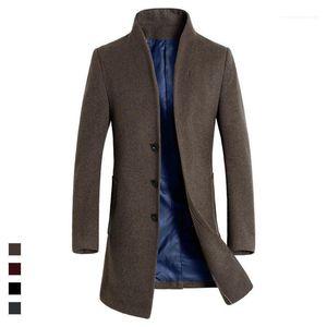 Mens Invierno Mezclas otoño abrigos de diseño larga de lana Slim Fit Casual chaqueta de la capa de abrigo