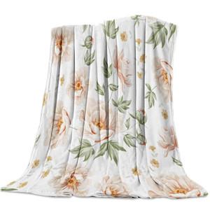 Soft Warm Coral Fleece Blanket Poppy Flower Leaf Winter Sheet Bedspread Sofa Throw Light Thin Flannel Blankets