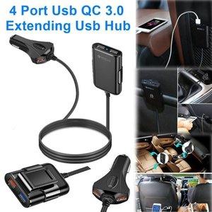 4 Port Usb Qc 3 0,0 Araç Şarj Quick Charge 3 0,0 Telefon Araba Hızlı Ön Arka Şarj Adaptörü Araç Taşınabilir Şarj Tak İçin Akıllı Telefon Iphone