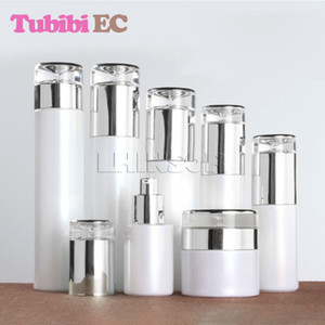 5шт / серия Pearl White Glass Silver Обложка спрей бутылки Лосьон Пресс Насосного крем баночка высокого класса косметической упаковки контейнеров
