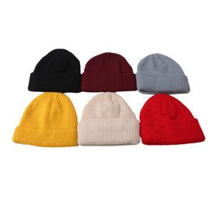 Yüksek Kalite Moda Saf Renk Yün Şapka Sonbahar Kış Erkek Ve Kadın Hip Hop Örgü Şapka Şapka Açık Vahşi Casual Caps Isınma