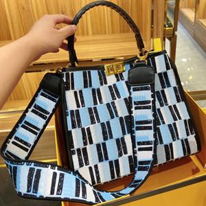 Сумки кошелек одного плеча мешок женщин сумки Мода Полный F Письмо Canvas High-Capacity Широкий плечевой ремень Засов высокого качества Бесплатная доставка